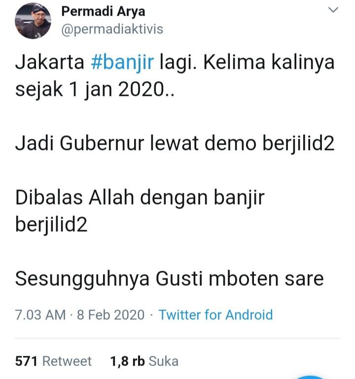 Banjir Jakarta Jadi Bahan Nyinyir, Jawaban Netizen Permalukan Abu Janda