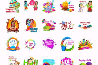 Happy holi and Dhuleti stickers For Whatsapp