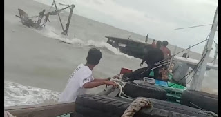 Cuaca Ekstrim,  KLM Jaya Makmur sentosa GT 87 tenggelam di Perairan Sebayur Pulau Bendahara Desa Pusek