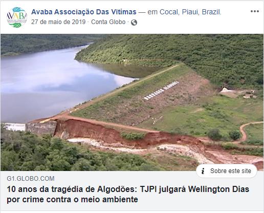 """Compartilhamento da matéria do G1 na qual o presidente da Avaba diz que a associação assumiu um """"compromisso"""" de não movimentar o processo contra o Governador, pois poderia levá-lo à prisão."""