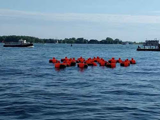 Safety Orange Swimmers In Toronto.
