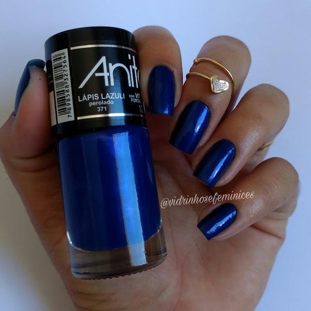 lançamento da anita esmaltes lápis lazuli perolado
