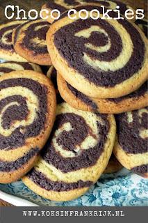 Chocolade en vanille spiraal koekjes