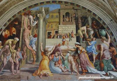 Afresco de Rafael com a antiga basílica de Constantino
