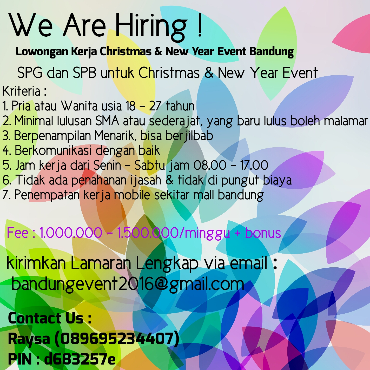 Lowongan Kerja Christmas & New Year Event Bandung
