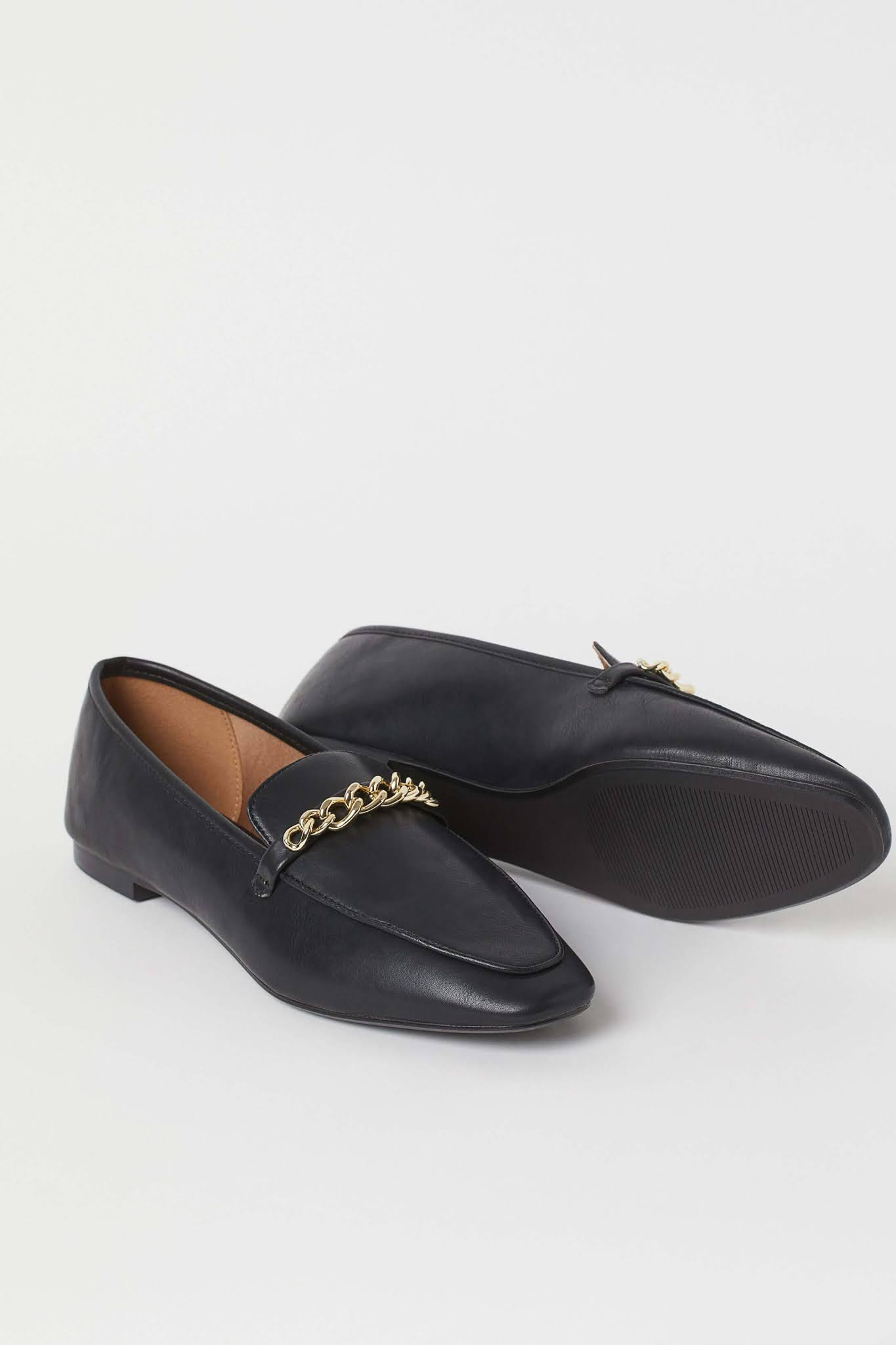 chain-detail loafers