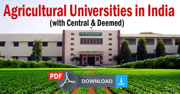 List of Agricultural Universities in India (Central, Deemed & Top Universities)