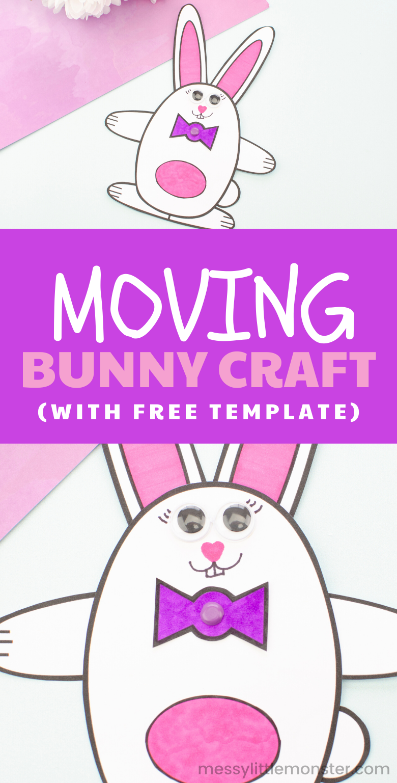 Moving bunny craft with bunny template. A fun and easy indoor Easter craft for kids.
