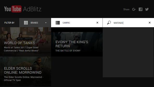 YouTube AdBlitz Super Bowl 51 LI Gaming voting category no Nintendo Switch commercial ad