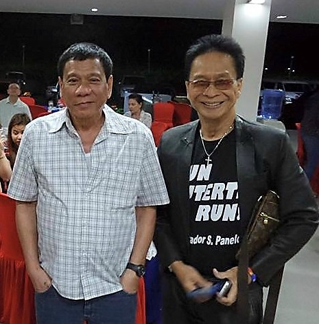 President-elect Rodrigo Duterte and Atty. Salvador Panelo at a gathering in Bacolod in April.
