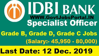 IDBI Specialist Officer Vacancy 2019