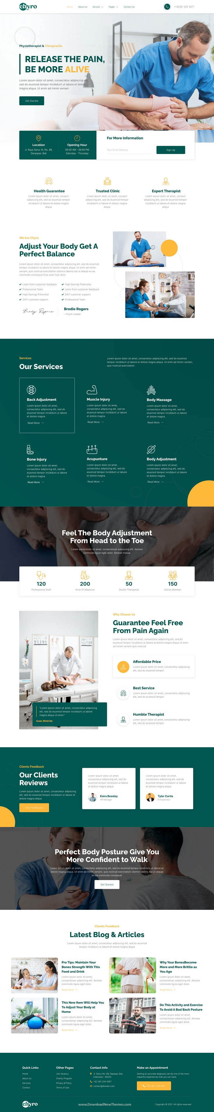 Chiropractic & Physiotherapy Elementor Template Kit