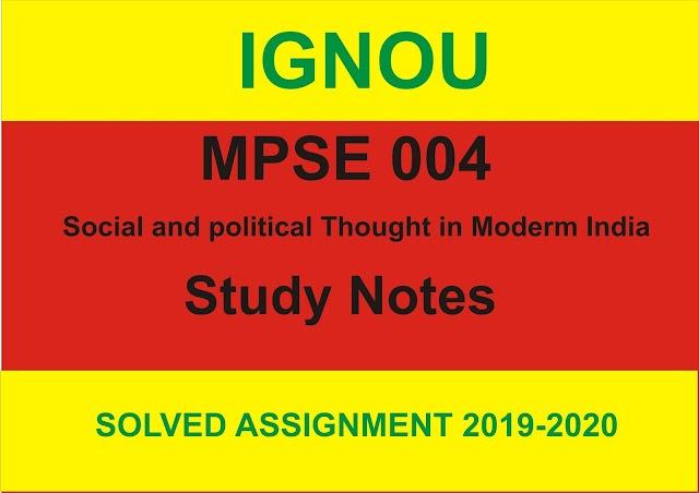 MPSE 004 Study Notes