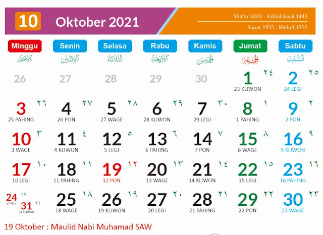 Tanggal Merah Bulan Oktober 2021