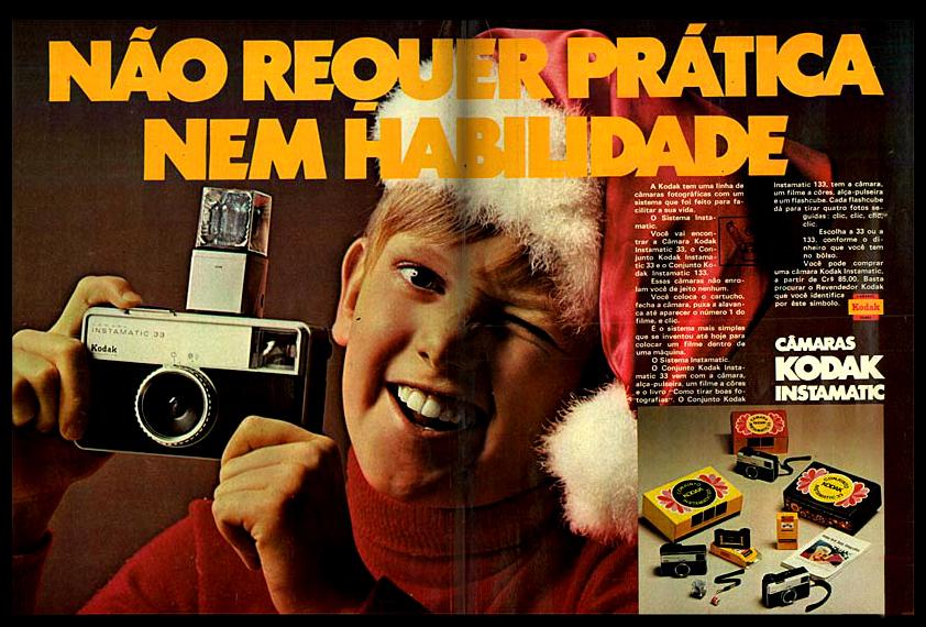 Propaganda antiga da máquina fotográfica Kodak Instamatic apresentada em 1971