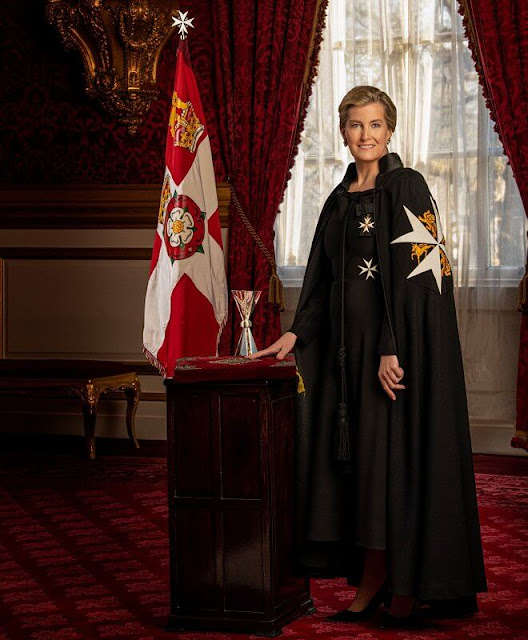 The Countess of Wessex wears the robes of a Dame of the Order of St John