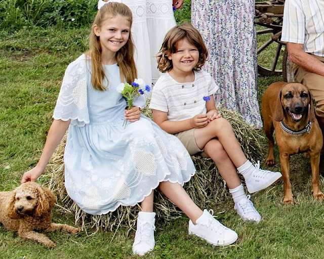 Crown Princess Victoria in By Malina, Princess Madeleine in LoveShackFancy, Princess Estelle in Patachou