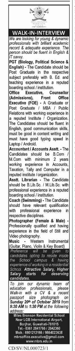 Miles Bronson Residential School, Guwahati Recruitment for Assistant Librarian