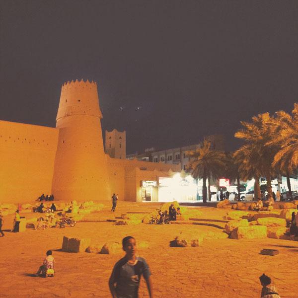 masmaq fort night riyadh saudi arabia photo