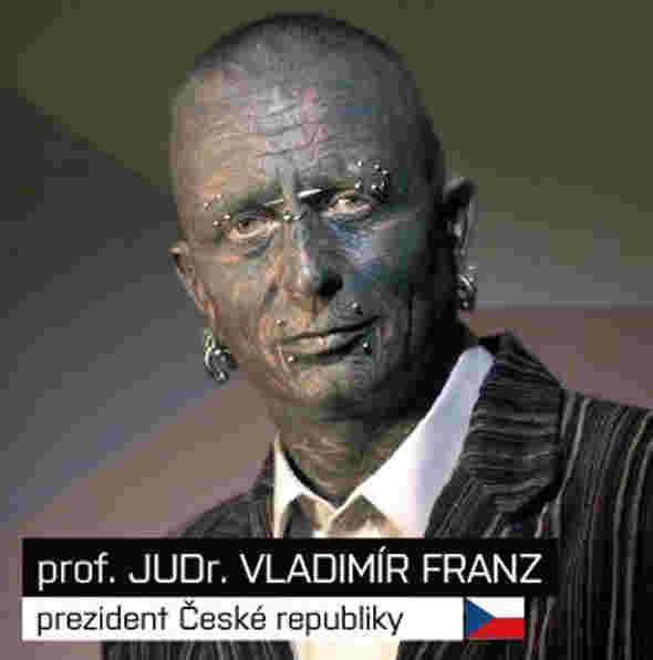Vladimír Franz orang dengan tatto ekstrim di wajah