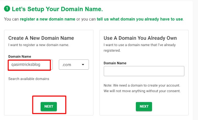 create a domain name for you new blog using GreenGeeks domain