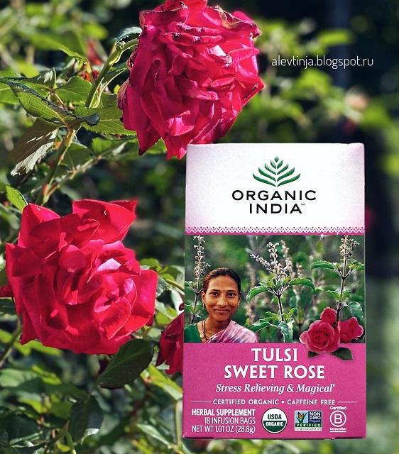 Organic India, чай с тулси, сладкая роза, без кофеина, 18 пакетиков, 28,8 г (1,01 унции)