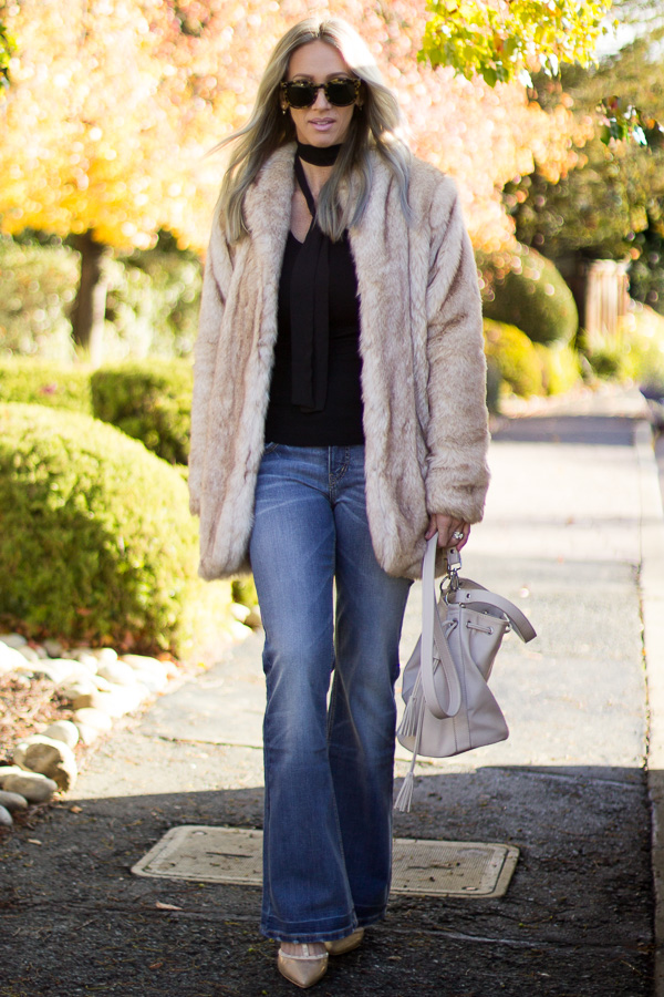 how to wear flare denim faux fur coat