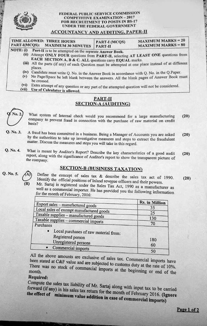 CSS Accountancy & Auditing Paper II 1