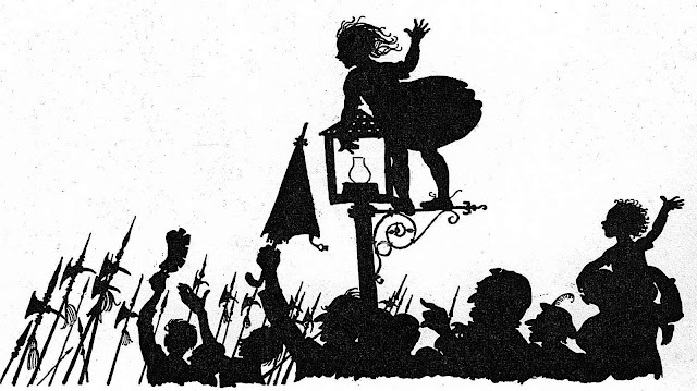 an Arthur Rackham silhouette illustration of soldiers cheered to war by the public