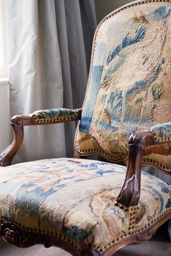 Detail of tapestry on antique French Country chair from Paris