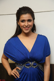Mannara Chopra in Short Blue Dress at Rogue Movie Teaser Launch 1st March 2017 116.JPG
