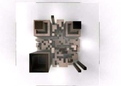 meja kosul unik motif barcode