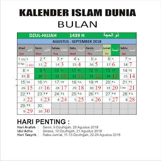 Kalender Islam bersatu Bulan Dzulhijjah 1439 H