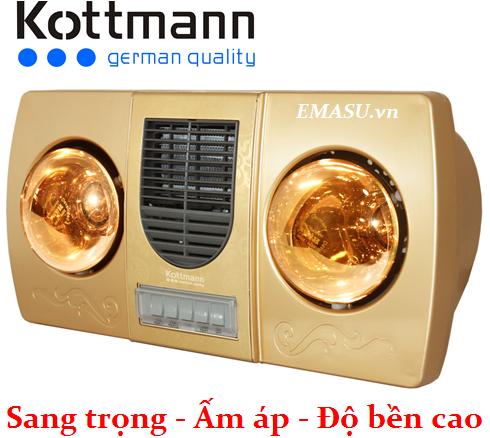 Đèn sưởi nhà tắm 2 bóng thổi gió nóng Kottmann K2B-HW-G