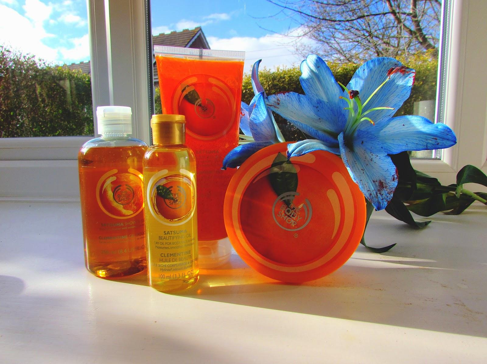 The Body Shop | Satsuma shower gel | Satsuma body and hair oil | Satsuma body butter | Satsuma body polish