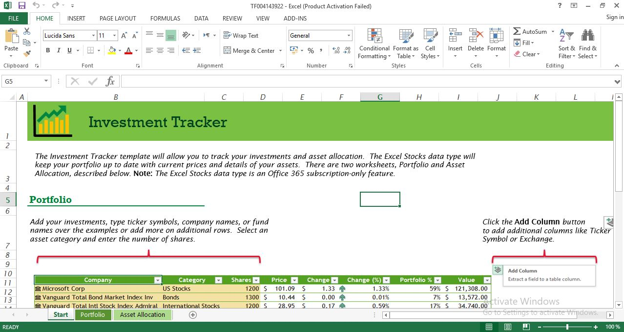Investment tracker excel template