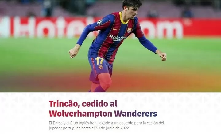 OFFICIAL: Barcelona winger Trincao has joined wolves on a one-year loan
