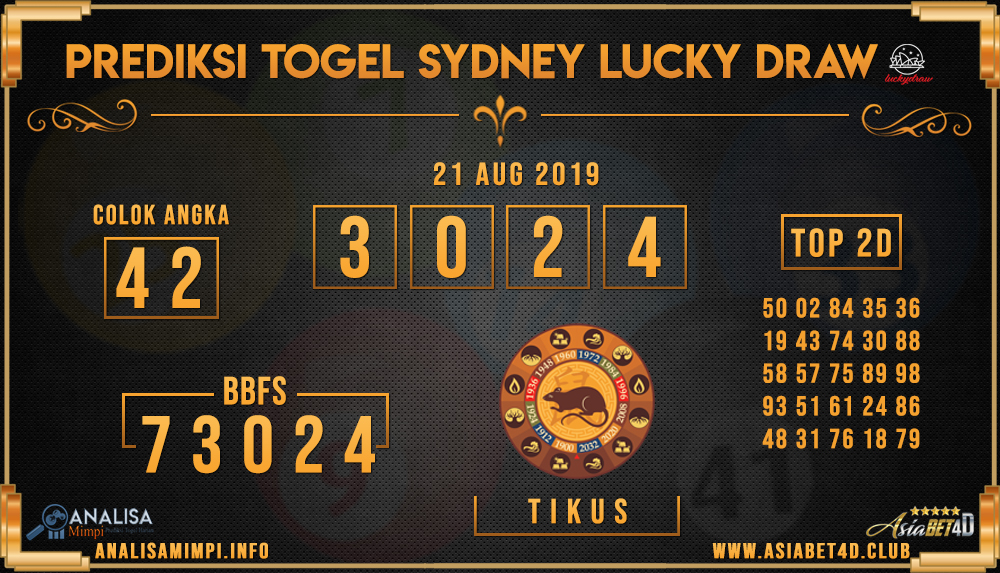 PREDIKSI TOGEL SYDNEY LUCKY DRAW 21  AUG 2019