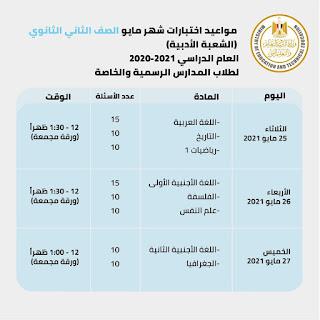 جدول امتحانات الصف الثاني الثانوي الترم الثاني مايو ادبى 2021