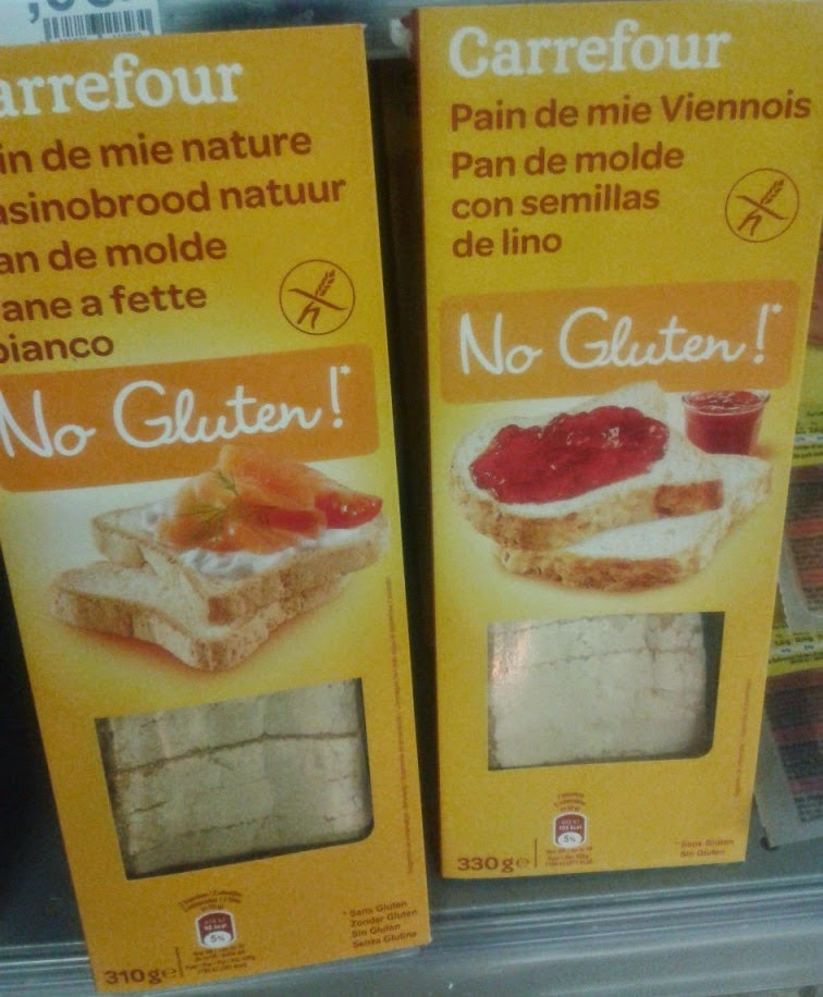 Two types of gluten free bread at Carrefour. Sin Gluten (aka Gluten Free) food from Spain