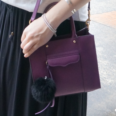black maxi skirt with rebecca Minkoff mini MAB tote bag plum purple | awayfromtheblue