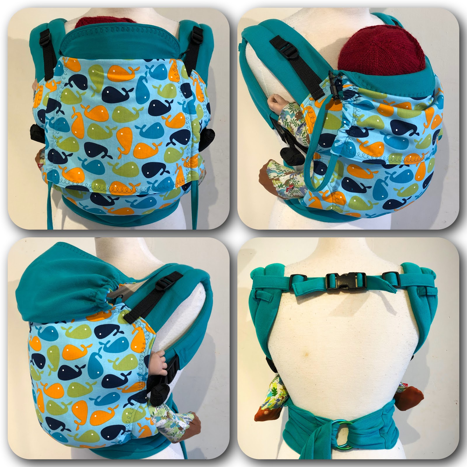 "15"" Reverse half buckle carrier with whales print"