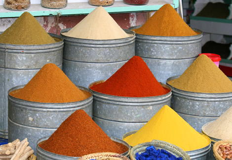 Spices pots in Marrakesh souk