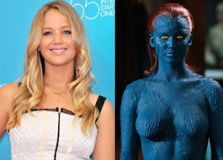 Jennifer Lawrence Happy Body painting replace by costume in X-Men Days of Future Past  sc 1 st  Hot News & Hot News: Jennifer Lawrence Happy: Body painting replace by costume ...