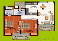 Floor-plan-2BHK-flat-in-Orange County Indirapuram
