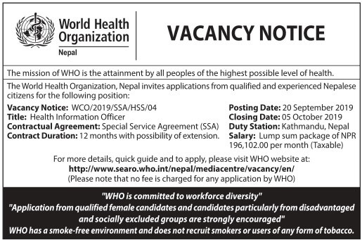 World Health Heath Nepal Vacancy Notice