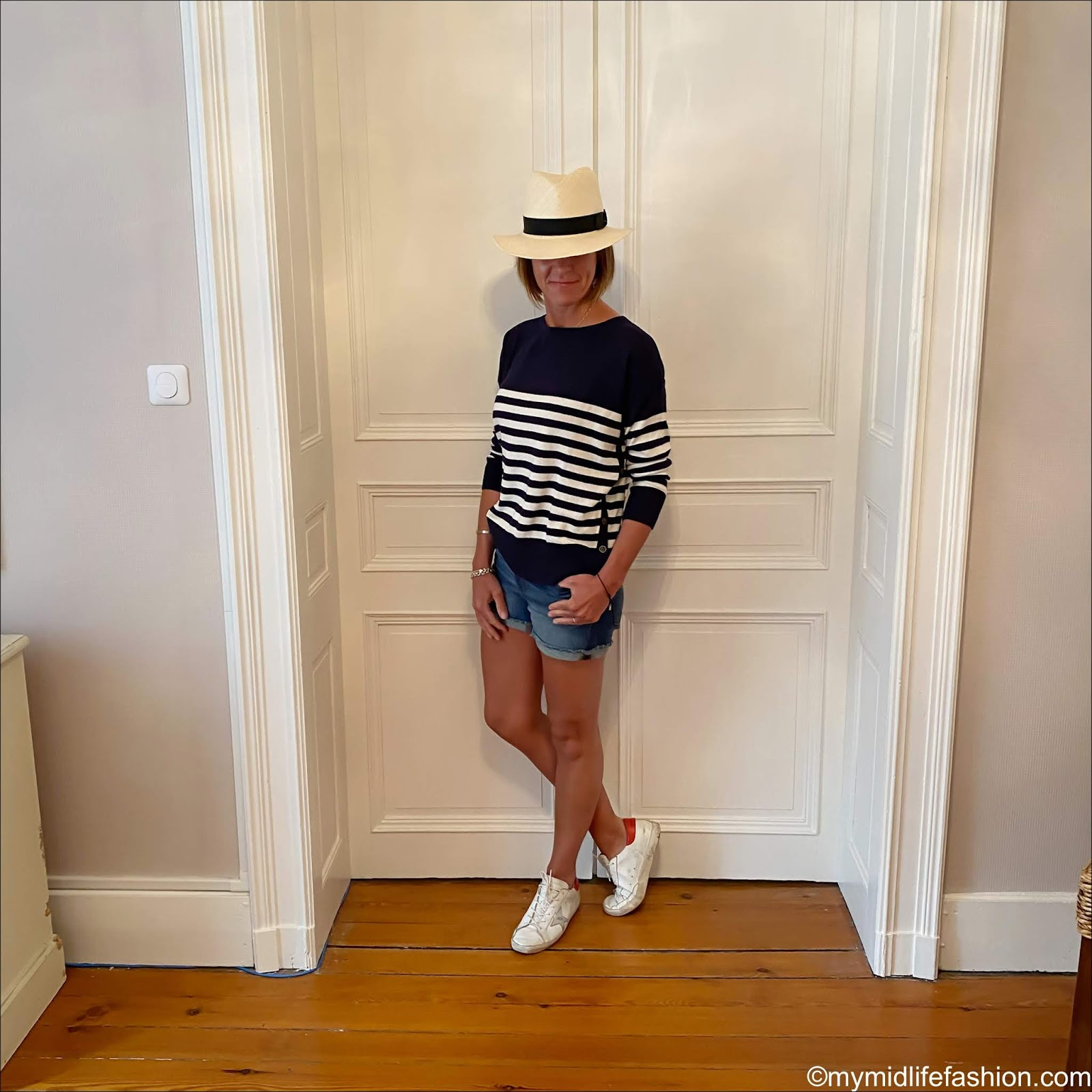 my midlife fashion, h and m Panama, woolovers navy/cream Breton stripe dropped shoulder jumper, j crew denim shorts, golden goose superstar low top leather trainers