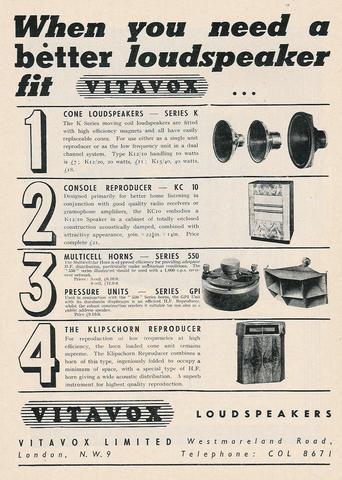 Vintage Vitavox Advert