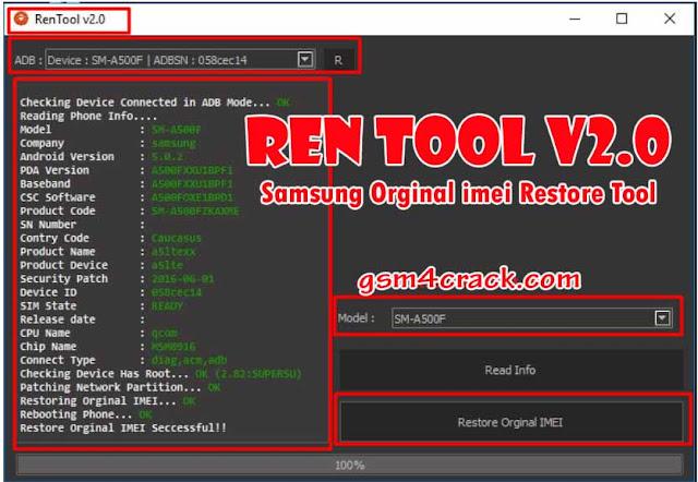 RenTool v2.0 One Click Samsung Orginal Imei Restore Tool