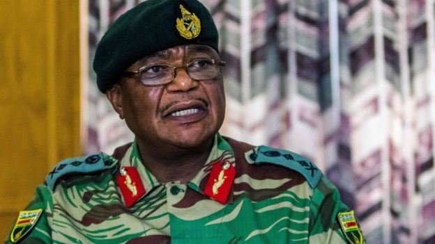 Image: AFP Image caption Zimbabwe Army General Constantino Chiwenga warned of a military takeover
